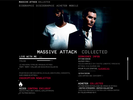 Site internet pour Massive Attack